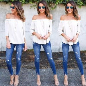 Tops - Sexy flowy loose off shoulder chiffon summer top